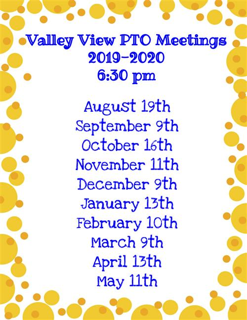 PTO Meeting Dates 2019/2020