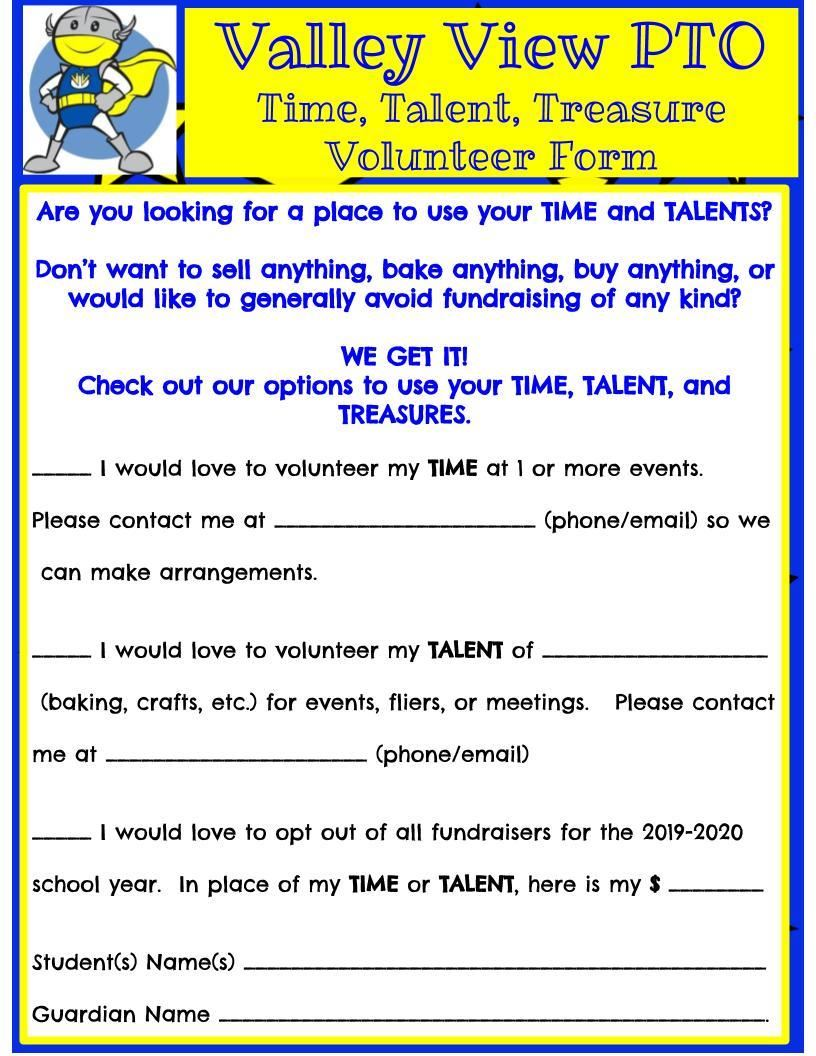 PTO Volunteer Form